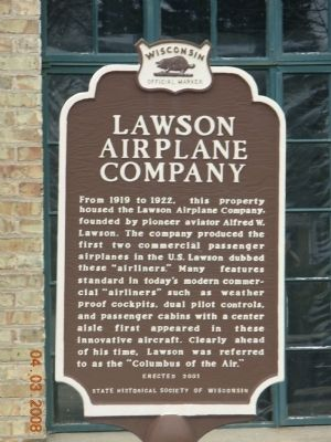 Lawson Airplane Company Marker image. Click for full size.
