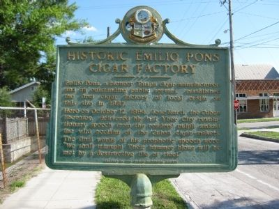 Historic Emilio Pons Cigar Factory Marker image. Click for full size.