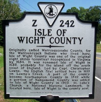 Isle of Wight County Marker image. Click for full size.