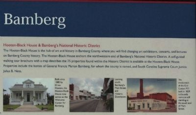 Bamberg Marker, Hooten- Black House & Bamberg's National Historic District image, Click for more information
