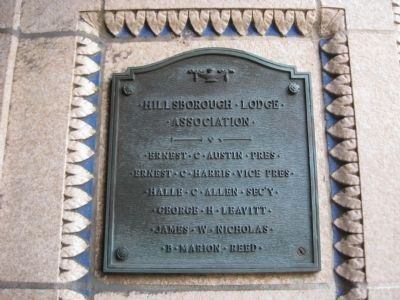 Hillsborough Lodge Association Plaque image. Click for full size.