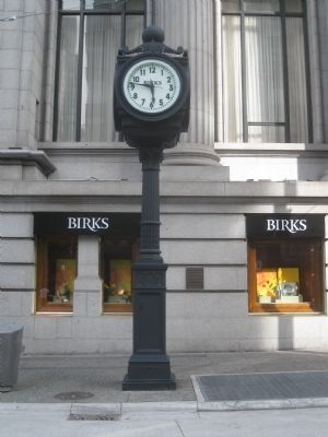 The Birks Clock, with marker in the background (to the right of the clock). image. Click for full size.