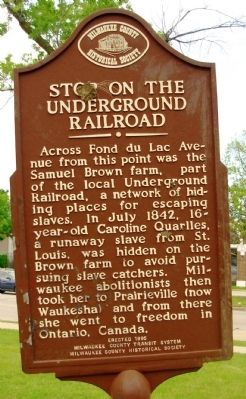 Stop on the Underground Railroad Marker image. Click for full size.