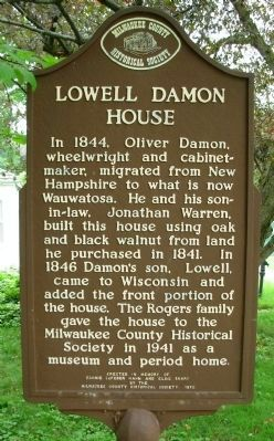 Lowell Damon House Marker Photo, Click for full size