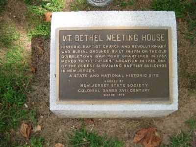 Mt. Bethel Meeting House Marker Photo, Click for full size