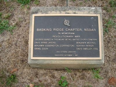 Plaque in Mt. Bethel Cemetery Photo, Click for full size