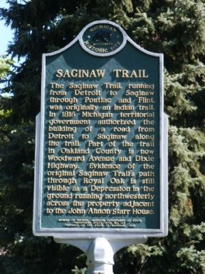 Saginaw Trail Marker image. Click for full size.