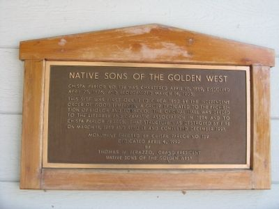 Native Sons of the Golden West Marker image. Click for full size.
