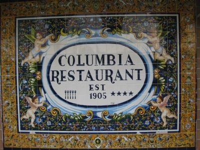 Columbia Restaurant Painted Tilework Sign image. Click for full size.