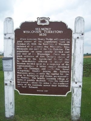 Belmont, Wisconsin Territory, 1836 Marker Photo, Click for full size