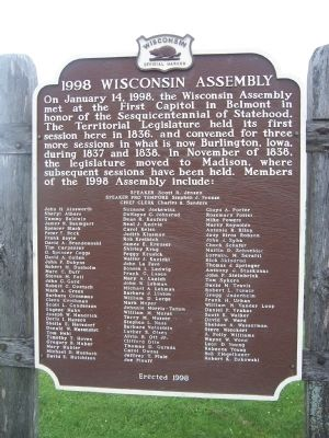 Governor Tommy G. Thompson's 1998 Address At Wisconsin's First Capitol Supplementary Marker image. Click for full size.