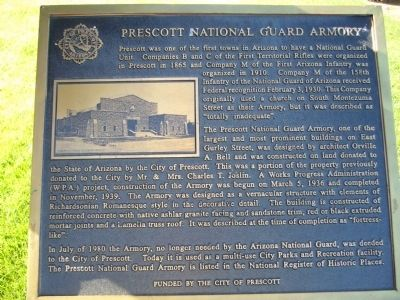 Prescott National Guard Armory Marker image. Click for full size.