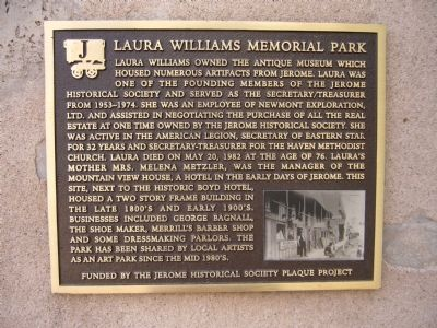 Laura Williams Memorial Park Marker Photo, Click for full size