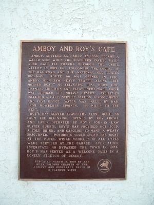 Amboy and Roy's Café Marker image. Click for full size.