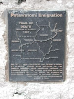 Potawatomi Trail of Death Marker Photo, Click for full size