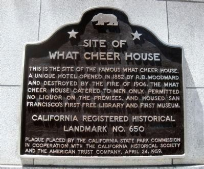 Site of What Cheer House Marker Photo, Click for full size