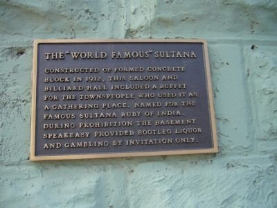 "The ""World Famous"" Sultana Marker image. Click for full size."