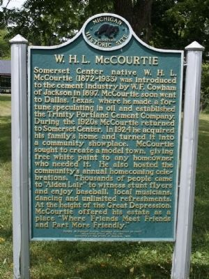 W. H. L. McCourtie Marker (front side) image. Click for full size.