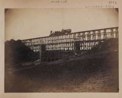 Military railroad bridge across Potomac Creek, on the Fredericksburg Railroad image. Click for full size.