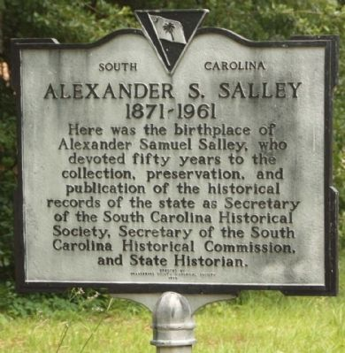 Alexander S. Salley Marker image. Click for full size.