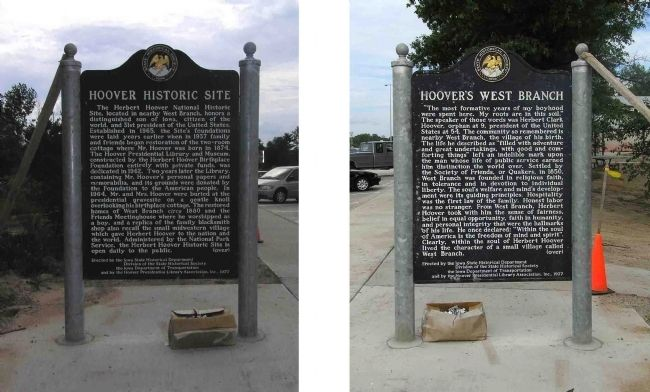 Hoover Historic Site / Hoover's West Branch Marker image. Click for full size.