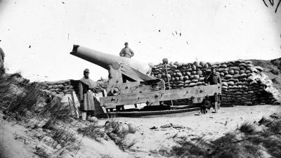 Fort Fisher, North Carolina. Gun with muzzle shot away image. Click for full size.