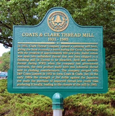 Coats & Clark Thread Mill Marker image. Click for full size.