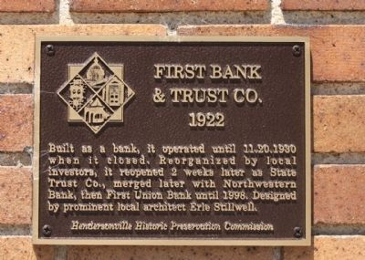 First Bank and Trust Co. Marker image. Click for full size.