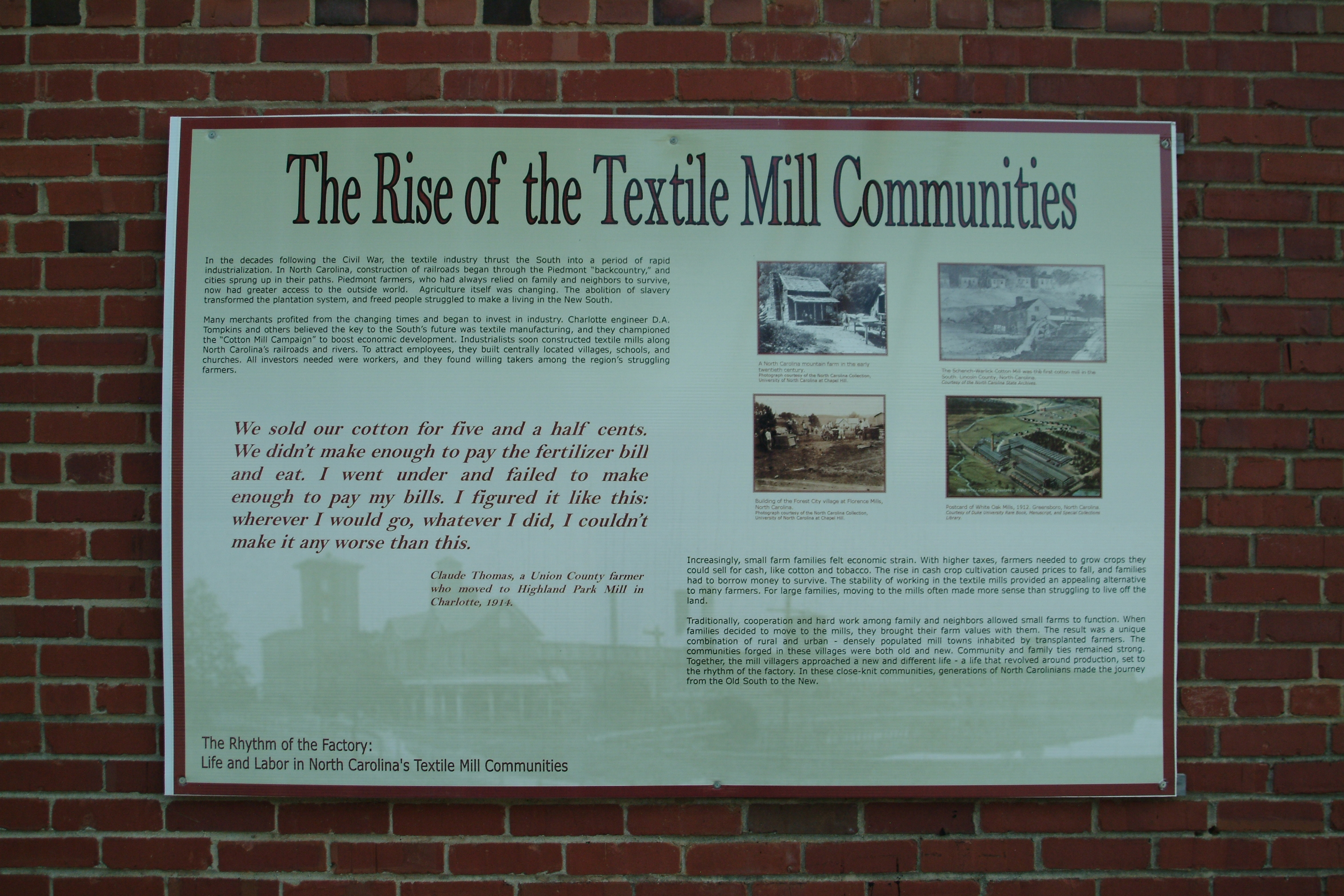 The Rise of the Textile Mill Communities Marker