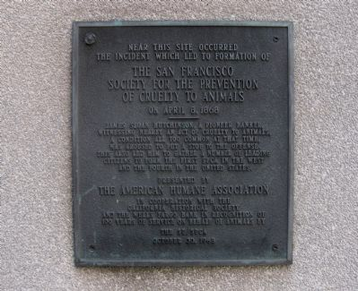 The San Francisco Society for the Prevention of Cruelty to Animals Marker Photo, Click for full size