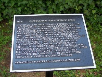 Capt. Colmary-Salmon House Marker image. Click for full size.