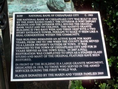 National Bank of Chesapeake City Marker image. Click for full size.