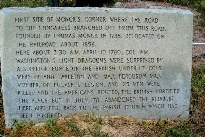 First Site of Moncks Corner Marker image. Click for full size.