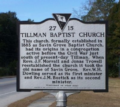 Tillman Baptist Church Marker image. Click for full size.