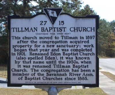Tillman Baptist Church Marker, reverse side image. Click for full size.