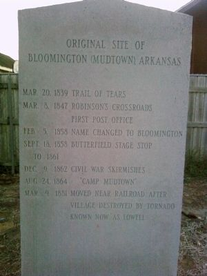 Original Site of Bloomington (Mudtown) Arkansas Marker image. Click for full size.