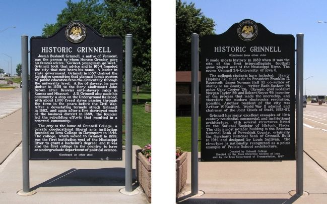 Historic Grinnell Marker image. Click for full size.