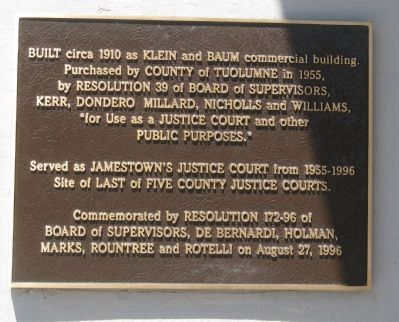 Community Hall / Jamestown Justice Court Marker image. Click for full size.