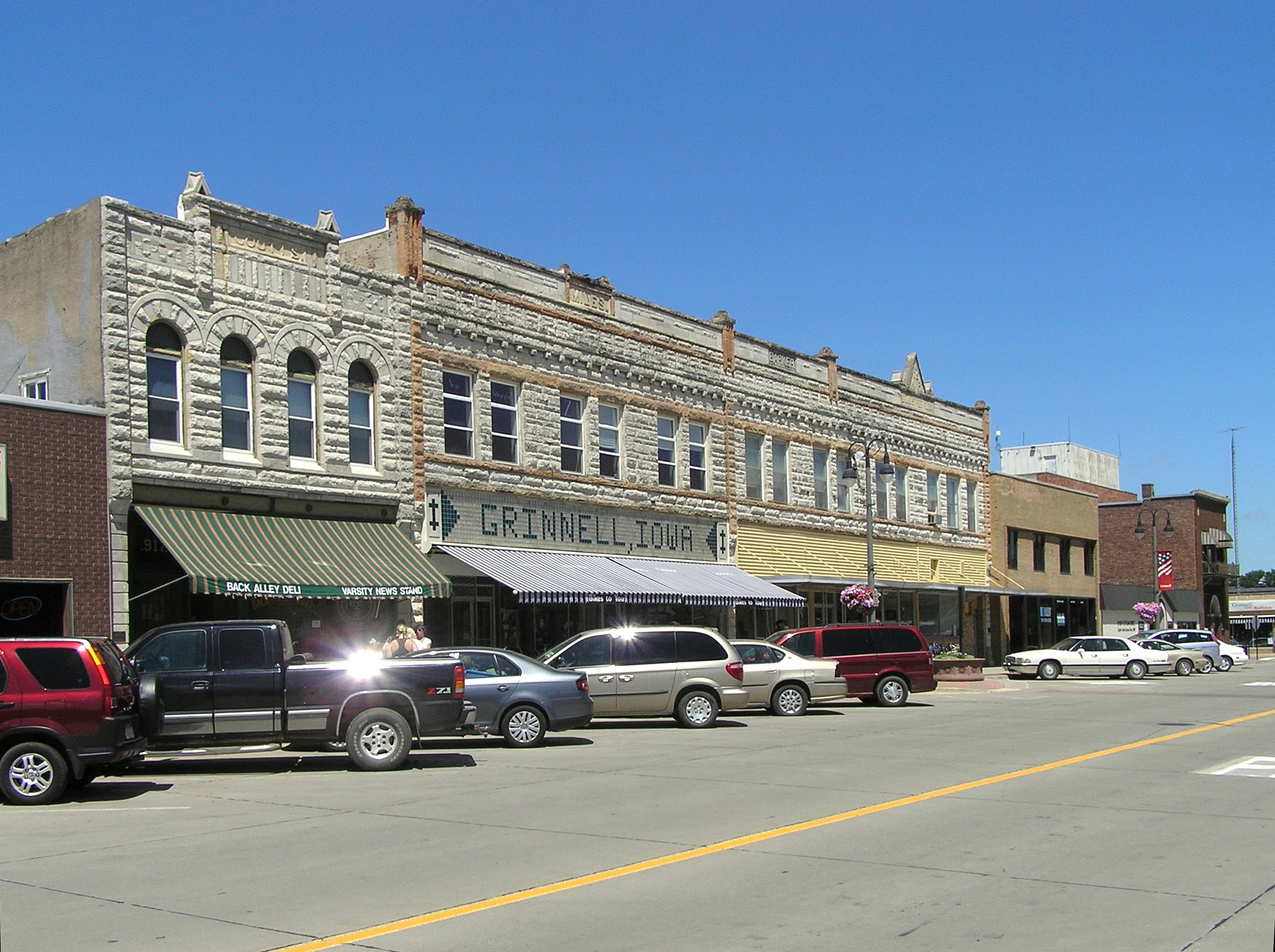 The streetscape of downtown Grinnell