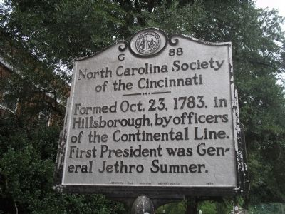 North Carolina Society of the Cincinnati Marker image. Click for full size.