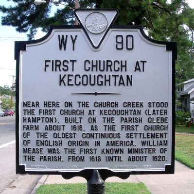 First Church at Kecoughtan Marker Photo, Click for full size