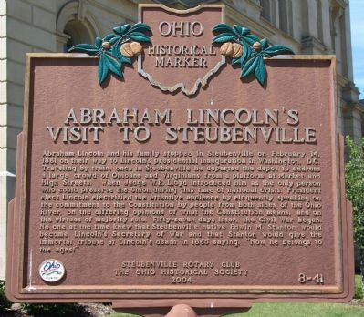 Abraham Lincoln's Visit to Steubenville Marker image. Click for full size.