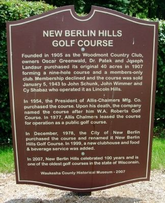 New Berlin Hill Golf Course Marker image. Click for full size.