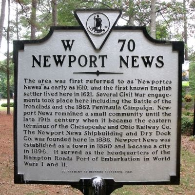 Newport News Marker image. Click for full size.