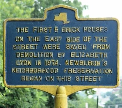 Newburgh's neighborhood preservation began on thls street Marker image. Click for full size.