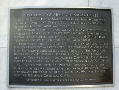 Birthplace of the Army Chemical Corps Marker image. Click for full size.