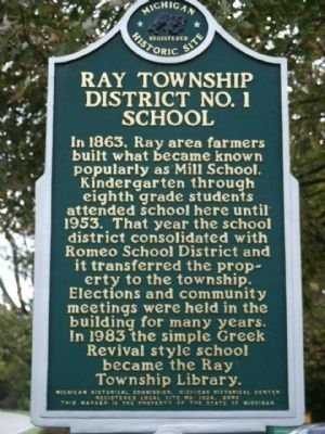 Ray Township District No. 1 School Marker image. Click for full size.