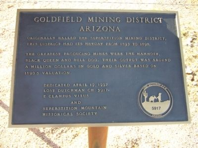 Goldfield Mining District Marker image. Click for full size.