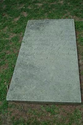 Here lyes y body of Jane Wife of Augustine Washington image. Click for full size.