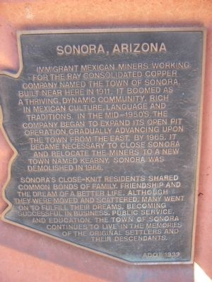 Sonora, Arizona Marker image. Click for full size.